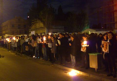 Candle-light vigil for Mustafa Tamimi at Defense Ministry in TA (Photo: Ben Hartman)