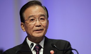 China's Premier Wen Jiabao delivers a speech