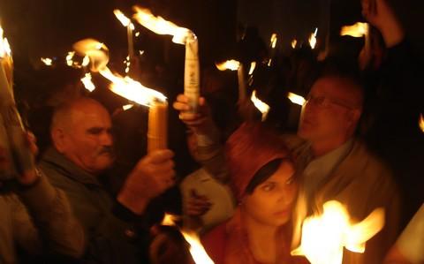 Holy Fire Ceremony in Jerusalem; photo courtesy Travelujah