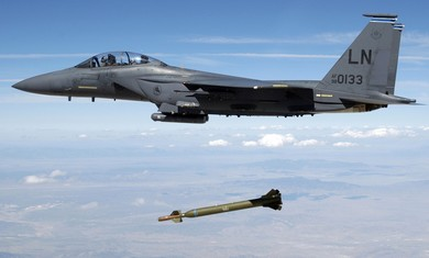 US Air Force F-15E releases a GBU-28 Bunker Buster - By REUTERS/Handout