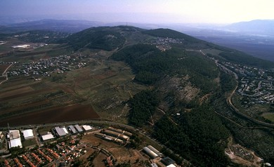 Hill of Moreh and Nain aerial from northwest  (photo: BiblePlaces.com)
