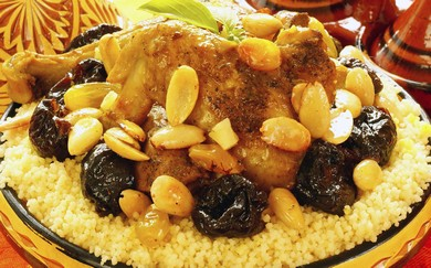 Braised chicken with dates and Moroccan spices