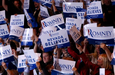 Supporters of Mitt Romney in Nevada
