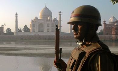 An Indian police officer guarding [illustrative]