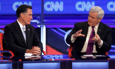 Republican candidates Romeny and Gingrich face off