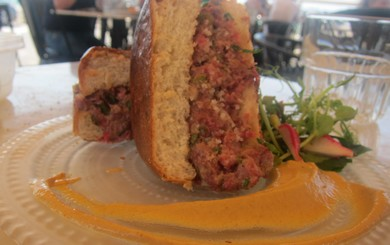 Steak Tartar Burger at Tapas B'Shuk