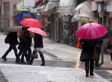 Ben Yehudah street in the rain