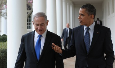 Netanyahu and Obama at the White House.