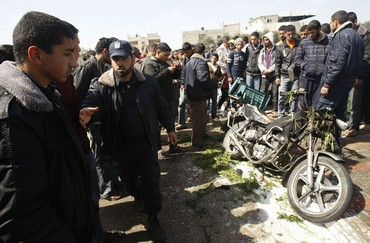 motorcycle hit by IDF in Gaza (Reuters)