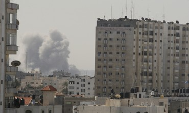 Smoke rises after an IAF strike in Gaza