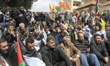 Protesters sitting near Bethlehem on Land Day