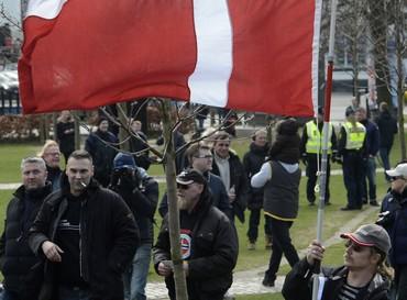 Members of the Danish Defense League in Aahrus (Reuters)