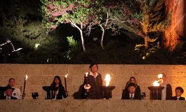 Lighting remembrance flames at Yad Vashem on Yom Hashoah