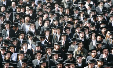 Orthodox Jews listening to a speech in Jerusalem