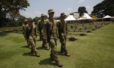 Australian soldiers prior to ANZAC ceremony