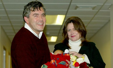 Gordon Brown with newborn son in 2003