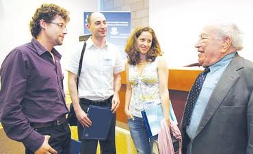 Marcel Adams meets with previous recepients - Photo: Israel Academy of Sciences