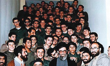 Revolutionary Guards member kisses Khamenei