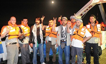 Activists pose on Mavi Marmara
