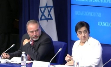 Liberman with Markoulis at meeting in Brussels - Photo: Screenshot