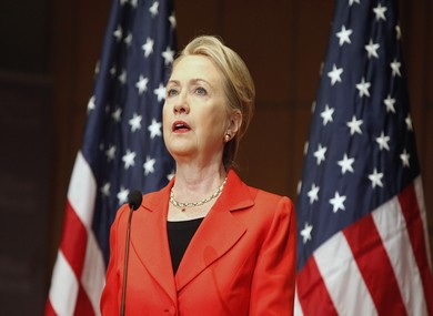Clinton delivers the keynote address - Photo: REUTERS