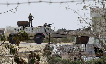 Egyptian soldiers at checkpoint  in Rafah
