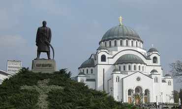 St. Sava cathedral in Belgrade, Petrovic statue