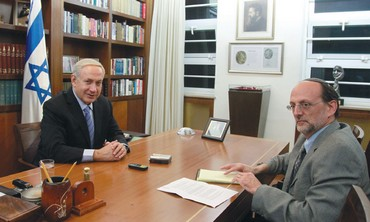 PM Netanyahu with  'Jerusalem Post''s Herb Keinon
