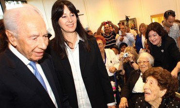 PRESIDENT SHIMON PERES speaks to centenarians