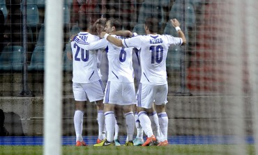Israel NT celebrates against Luxembourg
