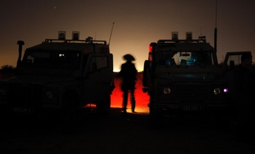 Israeli soldiers during patrol outside Gaza Strip