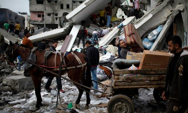 Horse drawn buggy in Gaza amid wreckage and destru