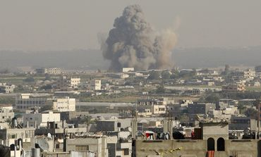 Smoke from airstrike in Gaza Strip