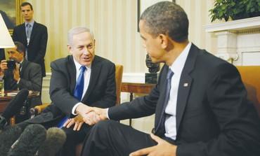 Netanyahu and Obama shake hands