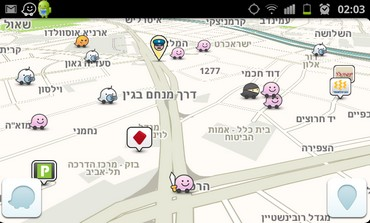 Screenshot of Waze mobile navigation app