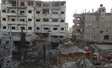 Damaged buildings in Daraya near Damascus