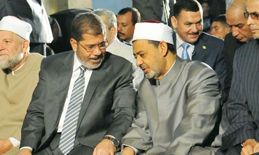 Egyptian Pres. Morsi with Grand Sheikh El-Tayeb