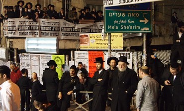 Anti election rally in Mea Shearim, January 20, 2013.