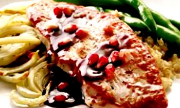 Pomegranate glazed turkey with roasted fennel