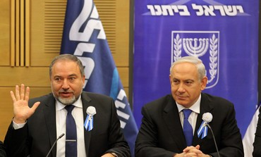 Liberman and Netanyahu at Likud Beytenu faction meeting, Feb 5 2013