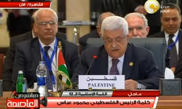 Palestinian Authority President Mahmoud Abbas speaks during an Islamic summit in Cairo, Feb 2013.