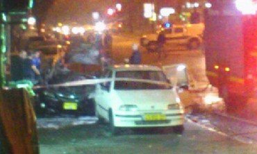 Site of car explosion which injured 2 in south Tel Aviv, Feb. 9