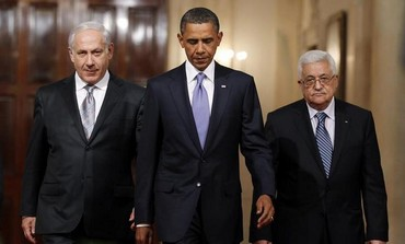US President Obama with Prime Minister Netanyahu and PA President Abbas, September 1, 2010.