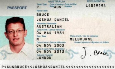 The passport copy of a man identified by Dubai authorities as Joshua Daniel Bruce of Australia (Reuters)