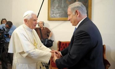 Prime Minister Binyamin Netanyahu meeting with Pope Benedict XVI in Nazareth, May 14, 2009.