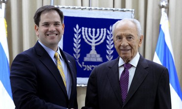 President Shimon Peres meets with US Senator Marco Rubio, February 20, 2013.