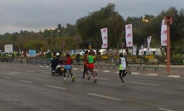 The leaders in the Jerusalem Marathon at the 5k mark, March 1, 2013