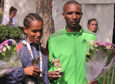 Male and female winners of the Jerusalem marathon 390