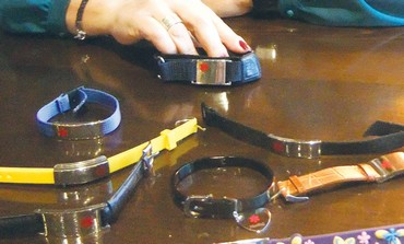 Medical bracelets on display.
