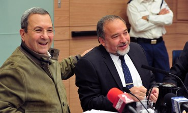 Outgoing MK Defense Minister Ehud Barak and MK Avigdor Liberman, March 11, 2013